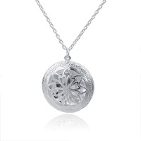 Essential Oil Diffuser Necklace for Aromatherapy Silver Pendant with 30'' Chain