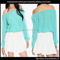 New Fashion Bright Color Long Sleeve Fashion Ladies Blouse,New Off Shoulder Light Blue Ladies Blouses and Tops