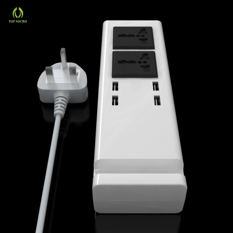 Newest US/EU/UK Socket Multi Cell Phone Charging Adapter 4USB+Dual AC Sockets Charger Station