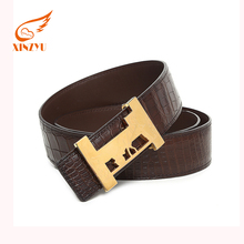 Wholesale Automatic Buckle Leather Belt Man Crocodile Leather Belt Without Holes