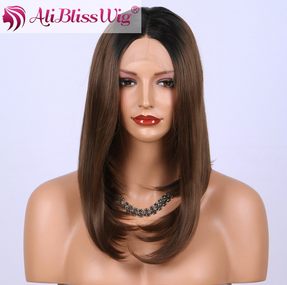 Middle Part Dark Roots Two Tone Ombre Chocolate Brown Heat Safe Fiber Synthetic Short Bob Lace Front Wig for African American
