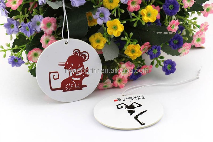 Landscape image and lovely shaped hanging paper air freshener