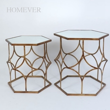 Beautiful Hexagon Shape Gold Metal Wire Mesh Coffee Table