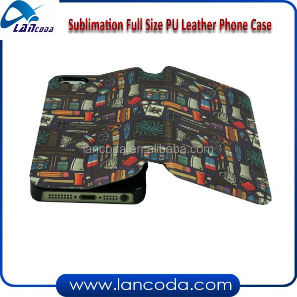 sublimation printing leather phone case,full size printing