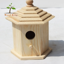 Custom Wholesale Exquisite Handicraft Articles Wood Products Woodcraft Bird'S Nest Kit Cage Wooden Chinese Bird House