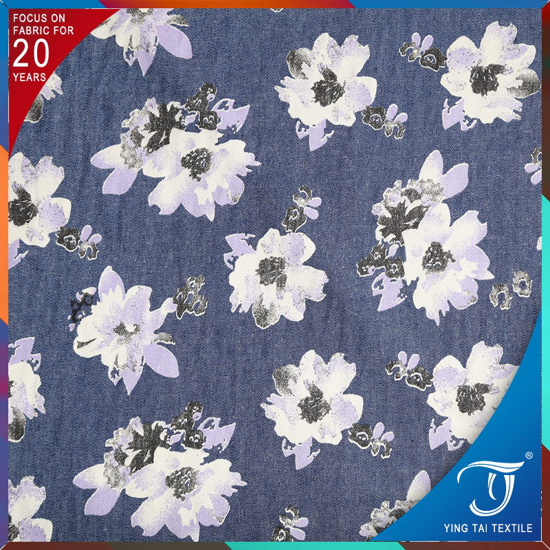 Cheap fabric print cotton lycra rolls of knitted denim fabric floral printed jean fabric for sale