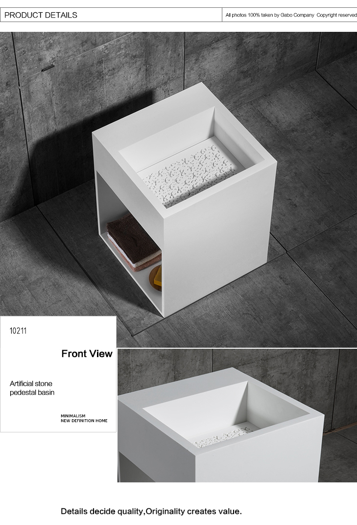Freestanding White Rectangular Basin With Wash Basin Cover
