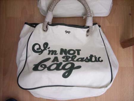 Anya Hind march I'm Not A Plastic Bag Green