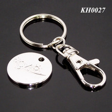 Promotional Custom Supermarket Shopping Metal Trolley Token Coin Keyring