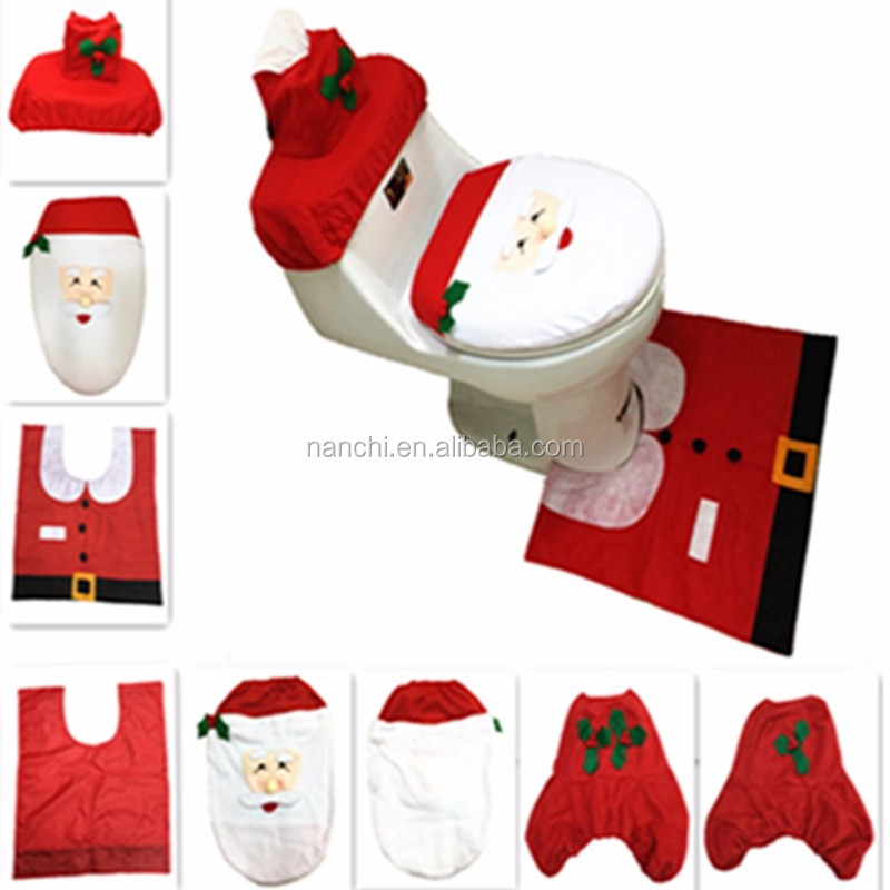 3Pcs/set New Style <strong>Christmas</strong> Decorations Happy Santa Toilet Seat Cover and Rug Bathroom Set <strong>Christmas</strong> Selling Products