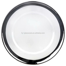 Wholesale glass tableware high quality lead free fancy silver rim wedding charger plates