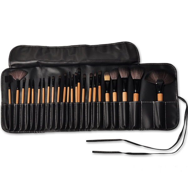 2018 new arrival 24pcs wood handle brush set private label synthetic hair makeup brushes maquiagem
