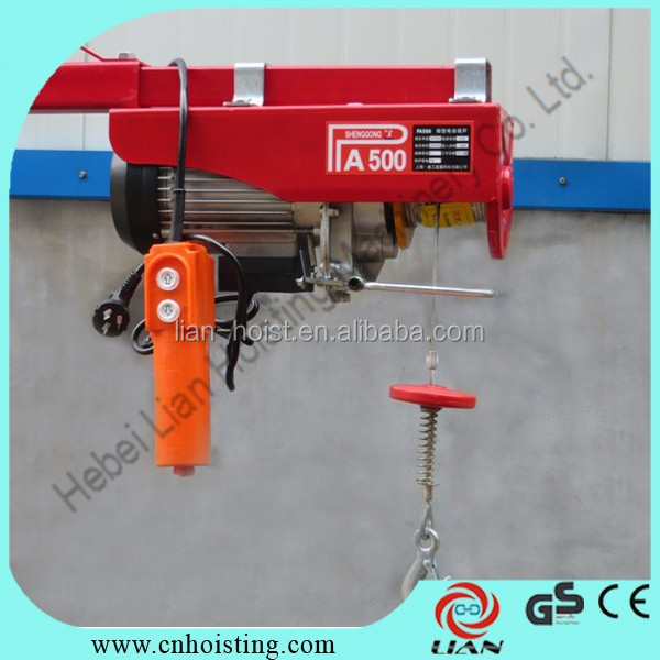 High quality 500kg mini wire rope crane with monorail trolley