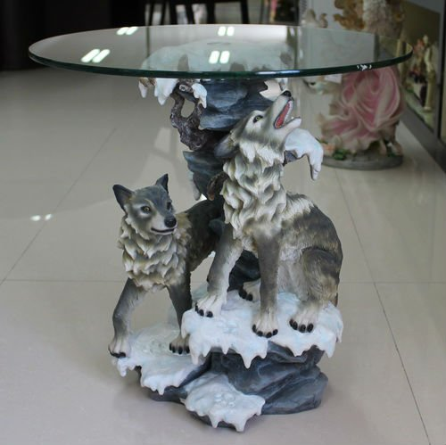hot sale resin wolf statue teapoy home decorative tea table