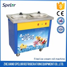 Fast-Cooling Evaporator Thailand Flat Pan Fried Ice Cream Rolling Machine