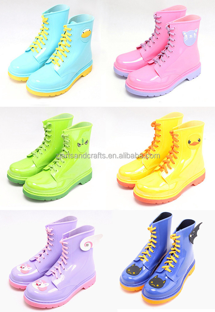 2016 spring animal ankle shoes pretty martin pvc jelly rain boot for ladies