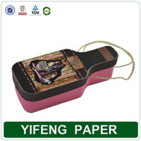 Wholesale Paper Cardboard Wine Bottle Shape Box with Handles