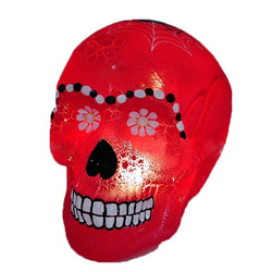 Wholesale battery operated red color artificial glass halloween skull for decorations