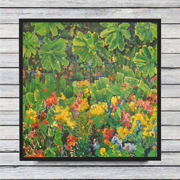 Beautiful green plants and flowers oil painting