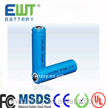 Factory best price 14500 lifepo4 battery 3.2v 500mah IFR14500 lifepo4 rechargeable battery cell