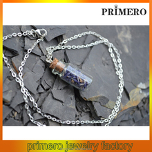 PRIMERO 2015 Handmade flavorsome Lavender glass necklace bottle necklace charms aroma pendant
