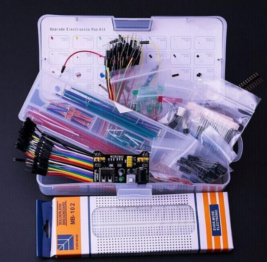 Upgrade Electronics Fun Kit Power Supply Module Jumper Wire Precision Potentiometer 830 Tie-Points Breadboard