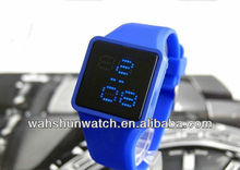 2013 factory custom classic square shape led sport sony battery touch screen watch