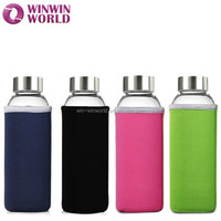 LFGB Promotional Gift Reusable Glass Drinking Bottle With Neoprene Cover