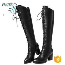 Ladies Brown and Black Fashion genuine leather Over the Knee Women Winter Boots