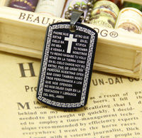 High quality gun black stainless steel beaded chains fashion 36mm black shield pendant printed cross scriptures