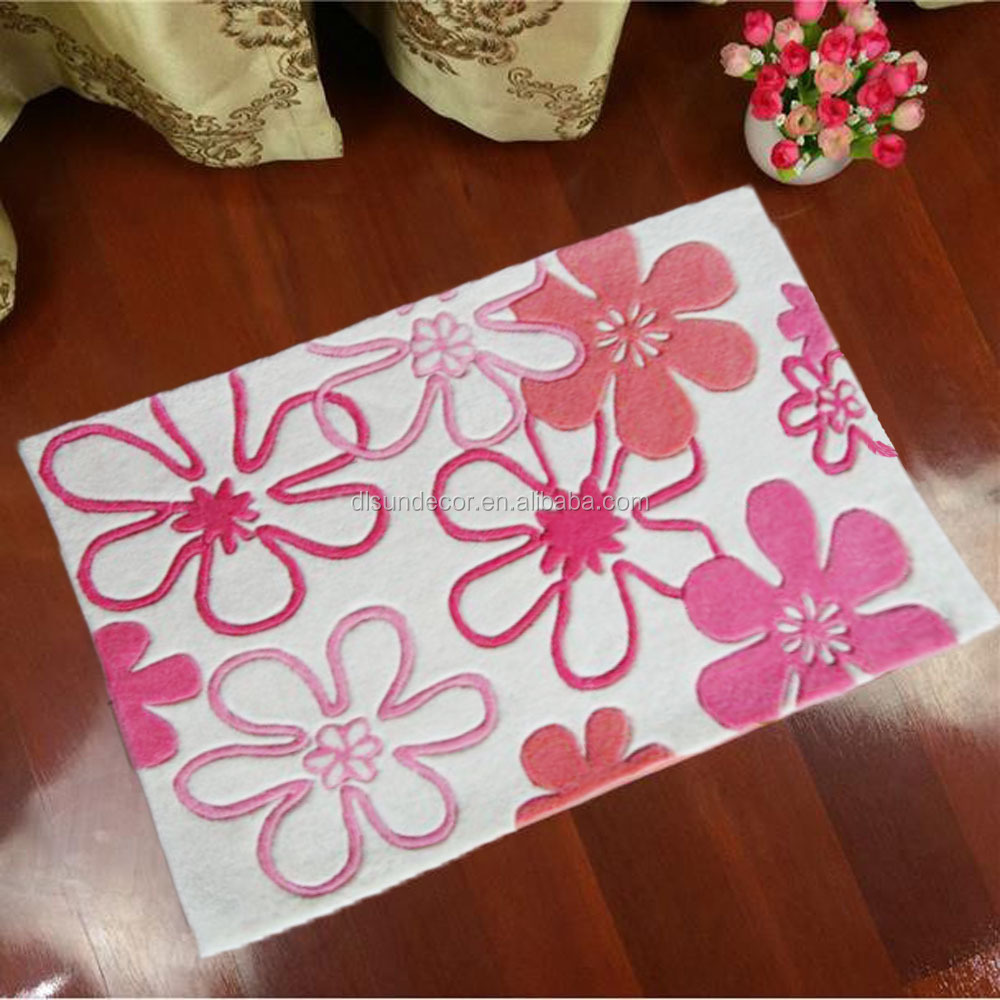 pink flower 100% polyester handmade room cartoon kids carpets rugs