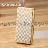 Top Quality checker Dual Arc Lighter Classic Electronic Double Arc Lighter Usb Charged Lighter