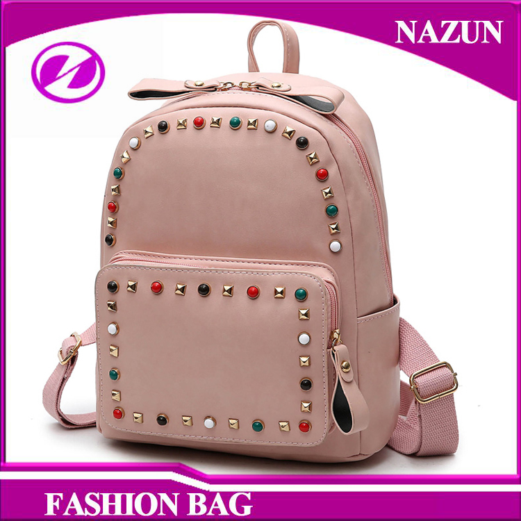2016 new trendy designer fashion 100% PU leather studded stars backpack bags for girls