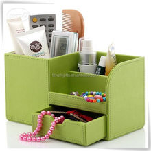 smooth leather cosmetic case and box for girls and ladies