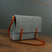 Wool felt Portable Laptop Bag Sling Sleeve single shoulder bag for Apple Macbook 15 Inch