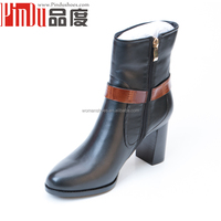 latest design 6cm high heel with khaki belt ankle botas 100% cow leather women boots shoes buckle ankle boots women