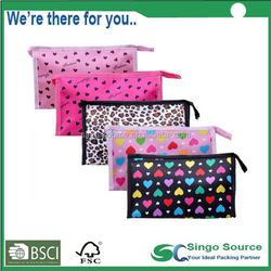 Promotional Nylon Dots Custom Printed Travel Cometic Bags Makeup Train Cases Wholesale
