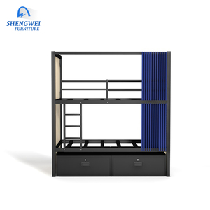 Latest design loft hotel bunk bed with wooden panel and drawers hostel curtain iron bunk bed prices