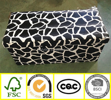 multifunctional cow pattern PVC leather indoor long wooden storage folding bench