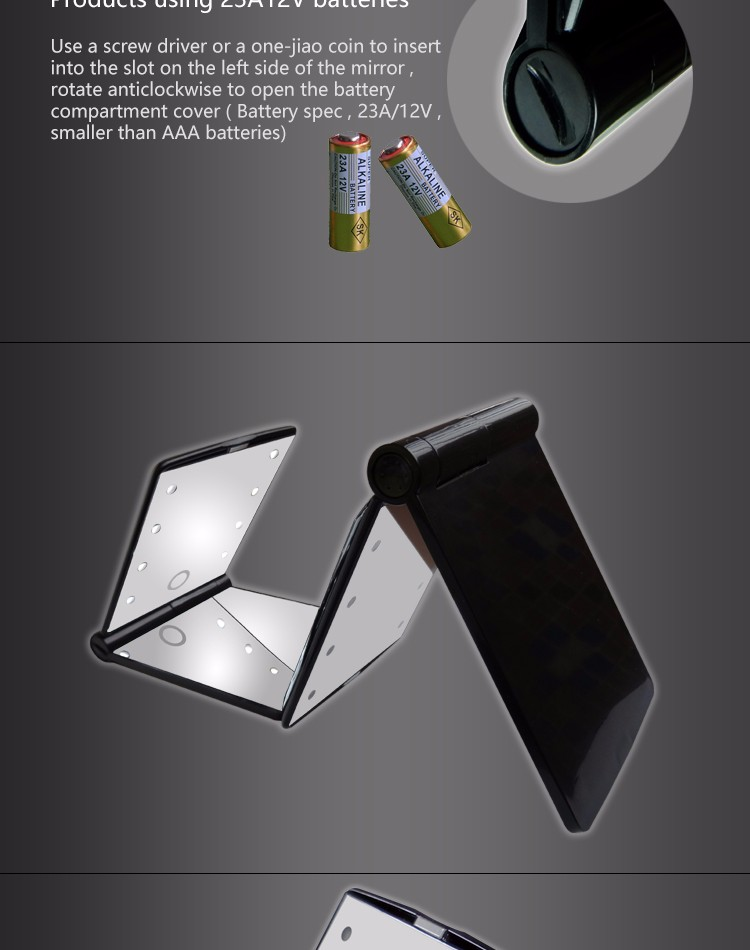 Touch sensing bi-foldable pocket led lighted makeup mirror