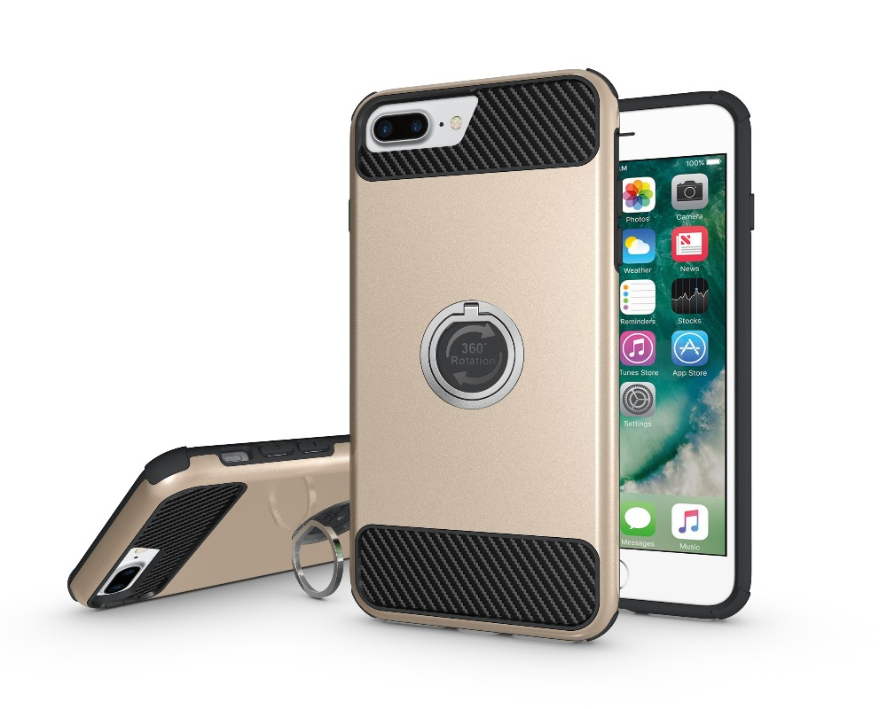 High quality double shockproof ring armor TPU+PC+Alloy hybrid for iphone 7 plus case