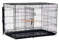 64cm (L) x 48cm (W) x 54cm (H) Foldable black dog cage with removable plastic tray and 2 doors