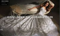 2012 new styles full embroidery bridal wedding dress with long tail OLH122