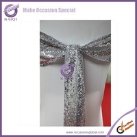 18804 Wholesale Silver net sequins embroidery wedding chair sashes