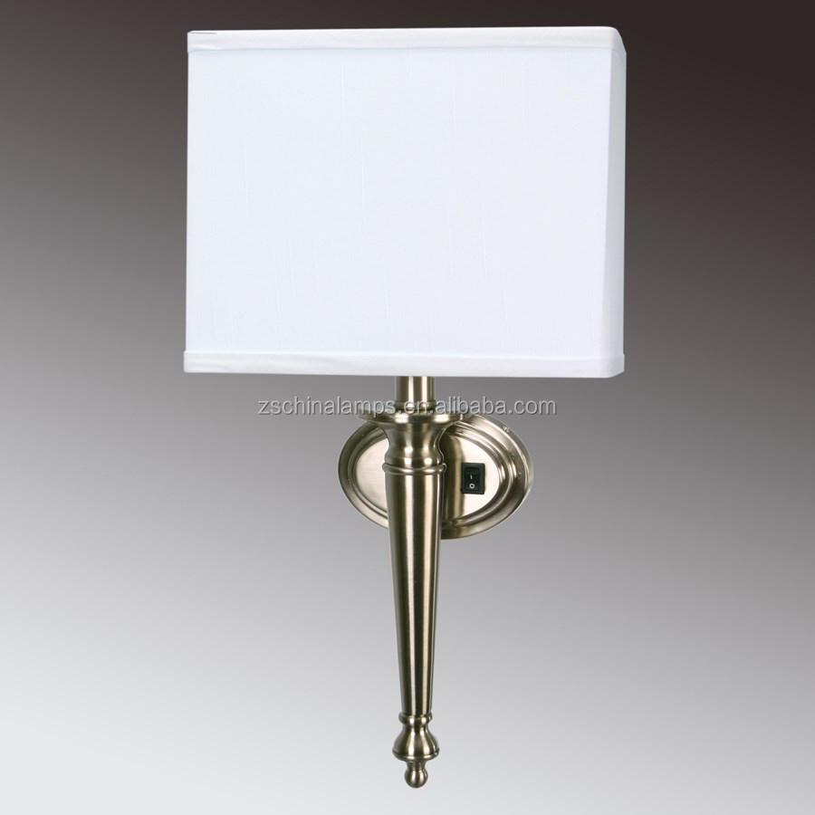 moroccan wall sconces Brushed Nickel Wall Sconce with White Linen Shade