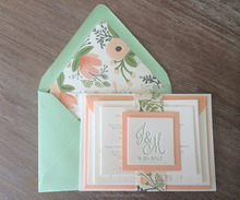 Gorgeous Mint Green and Pink Floral Wedding Invitations Suite