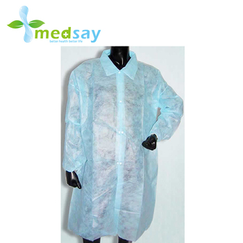 with button closure medical disposable PP non woven Lab coats