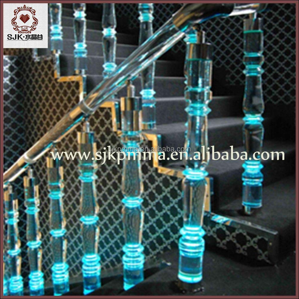 Acrylic clear stair handrail with led light