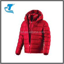 Mens Winter Down Hooded Double Layer Parka Jacket Red