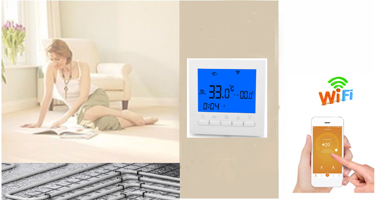 HY02B05-WiFi  weekly button programmable digital underfloor room WiFi thermostats with white backlight